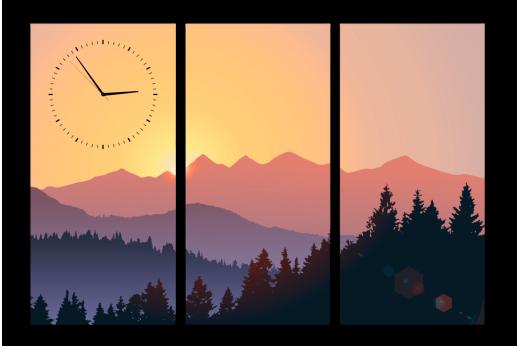 Модульная картина с часами Горы